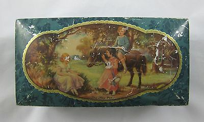 """Vintage Peak Frean Chocolate Table Biscuit Tin """"The New Pony"""""""