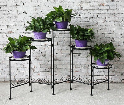 5 Tier Black Decorative Folding Metal Plant Stand Flower Pot Display Shelf Rack