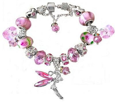 Girls Pink Fairy Crystal Beads European S Plated Charm Bracelet Stamped 925
