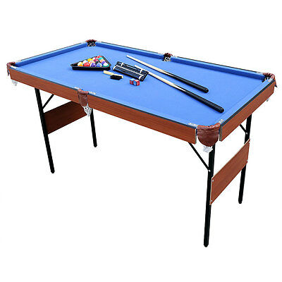 "55"" Profeesional Folding Pool Billiard Table with Blue Cover Ball Set & Cues"