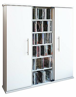 "VCM ""Santo"" CD/DVD Tower for 450 CDs, Wood, White"