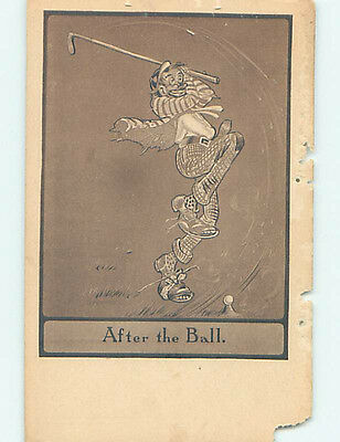 Damaged Pre-Linen golfing GOLFER SWINGS AT GOLFBALL AND MISSES COMPLETELY HJ1833