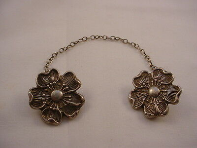 Vintage Sterling Silver Flower Double Sweater Clips Shaw Clips  With Chain