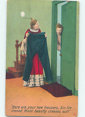 Bamforth comic WOMAN IRONS THE PLEATS OUT OF MAN'S TROUSERS HJ1936