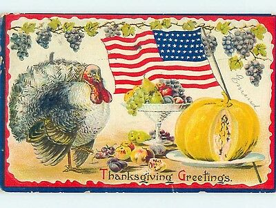 Pre-Linen thanksgiving patriotic LARGE USA FLAG WITH PUMPKIN IN TURKEY HL1792