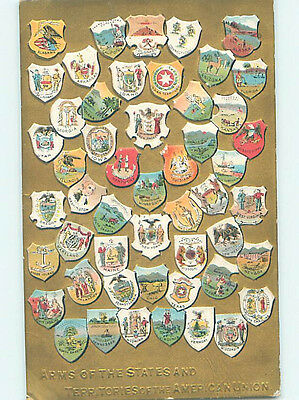 Pre-Linen patriotic ARMS OF ALL STATES AND TERRITORIES IN USA ON POSTCARD HJ2921