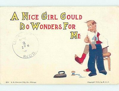 Pre-Linen comic MAN NEEDS A NICE GIRL TO MEND HIS CLOTHING HL2395