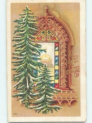 Pre-Linen christmas religious BEAUTIFUL LARGE STAINED GLASS CHURCH WINDOW HL0137
