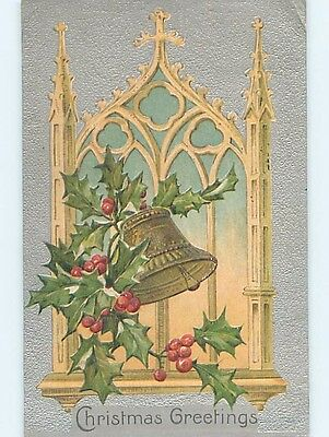 Pre-Linen christmas religious BELL RINGS BY THE CHURCH WINDOW HL0212