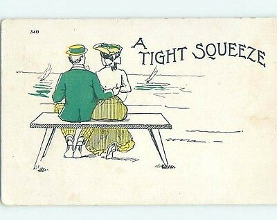 Pre-1907 comic TIGHT SQUEEZE - MAN PUTS ARM AROUND WOMAN'S WAIST HL1926