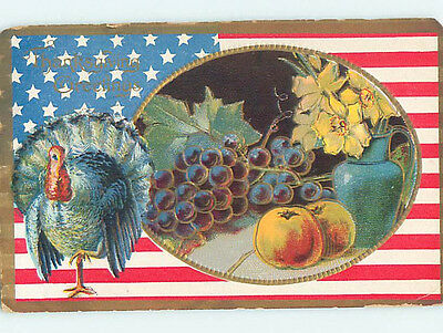 Pre-Linen patriotic thanksgiving LARGE USA FLAG WITH TURKEY AND GRAPES HJ2979