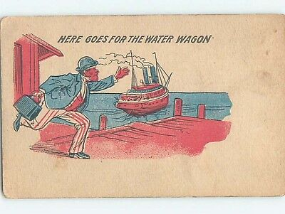 Pre-Linen patriotic MAN IN RED WHITE AND BLUE RUSHES TO CATCH SHIP BOAT HL2399