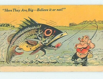 Linen-Like comic exaggeration HUGE FISH CAUGHT WHILE FISHING HL3527