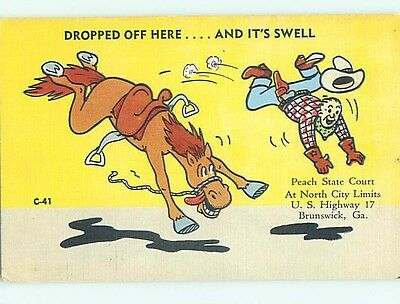 Linen comic western OLD WEST COWBOY TOSSED FROM HIS HORSE HL3362