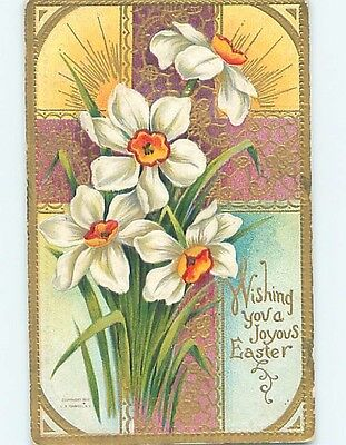 Pre-Linen religious EASTER LILY FLOWERS WITH PURPLE JESUS CROSS HL1134