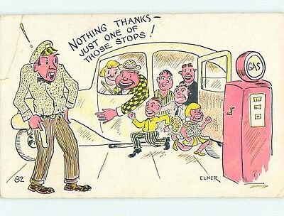 Pre-1980 comic signed FAMILY PILES OUT OF CAR AT GAS STATION HL3559