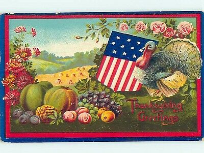 Pre-Linen thanksgiving patriotic USA FLAG SHIELD WITH TURKEY AND PUMPKINS HL1779