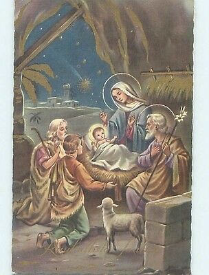 Pre-Chrome foreign religious CROWD BY BABY JESUS AT CHRISTMAS NATIVITY HL9666