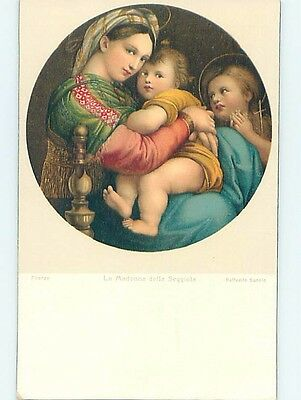 Pre-Linen foreign religious VIRGIN MARY HOLDING BABY JESUS ON HER LAP HL9647