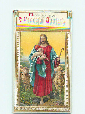 Pre-Linen easter religious JESUS CHRIST CARRIES BABY LAMB IN HIS ARM hr2567