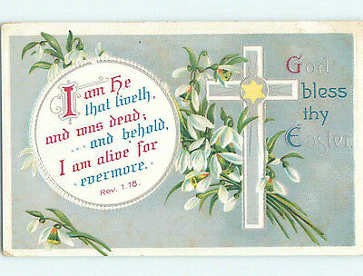 Pre-Linen easter REVELATIONS BIBLE QUOTE & JESUS CROSS WITH FLOWERS hr2660