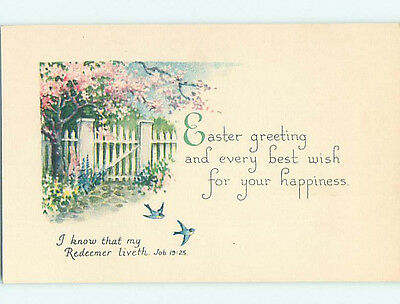 Pre-Linen easter JOB BIBLE QUOTE & BIRDS & FLOWERING TREE AT FENCE hr2661-22