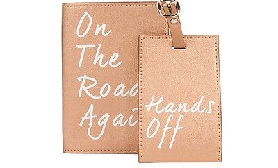 UNDERSTATED LEATHER~Passport Holder & Luggage Tag~On The Road Again~TRAVEL SET