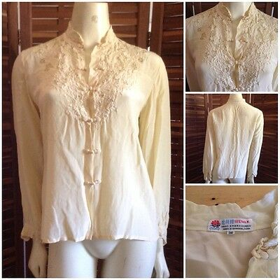Vintage 60S Peony Mandarin Silk Hand Embroidered Blouse Retro Shirt Bohemian Top