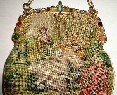 Antique vintage purse, scenic tapestry handbag pocket book, jeweled trim detail