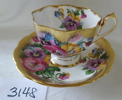 QUEEN ANNE cup & saucer PANSIES with heavy wide gold on rims