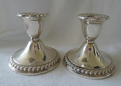 STERLING SILVER pair of short Candlesticks ROGERS Sterling