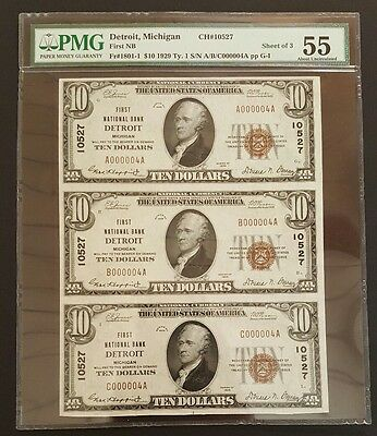 BEAUTIFUL SHEET OF 3 SERIAL NUMBER 4 ~1929 $10 Notes, CH#10527 Detroit Michigan