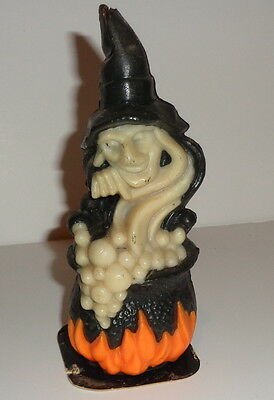"""Vintage Halloween, creepy witch bubbling cauldron, Gurley 5 1/2"""" wax candle"""