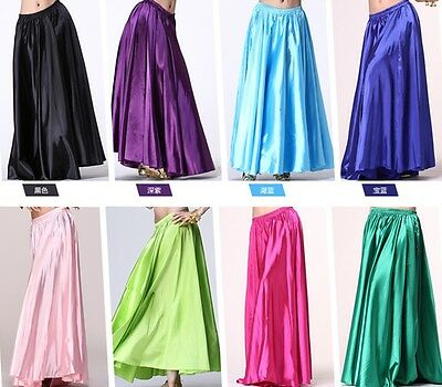 Hot 360 Full Circle Satin Long Skirt Swing Belly Dance Costumes Tribal Plus size
