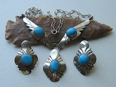 Vintage Navajo Sleeping Beauty Turquoise and Sterling Silver Necklace Set