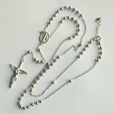Sterling Silver rosary beads necklace 4mm balls Miraculous medal and Crucifix