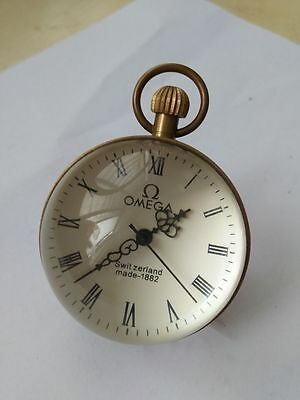 Works CHINESE vintage BRASS GLASS pocket watch BALL clock 2.0 inch