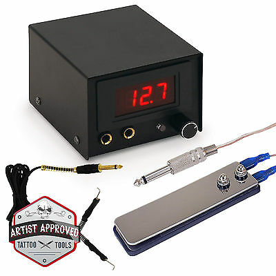 Tattoo Power Supply Kit for Machine with Pedal - Digital LCD - Black