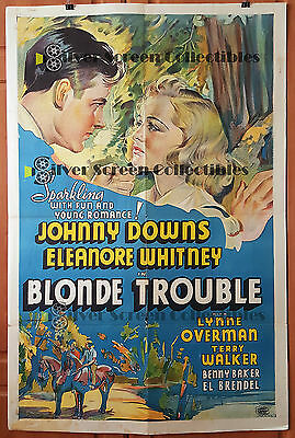Blonde Trouble - Eleanore Whitney & Johnny Downs  - Vintage One Sheet
