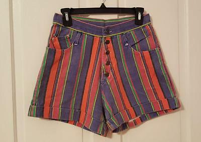 Vtg Appeal Striped Shorts Salt N Pepa Jean Denim High Waisted Fresh Prince 9/10