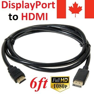 6FT Display Port DP Male to HDMI Male Cable Cord Adapter Converter for PC HDTV