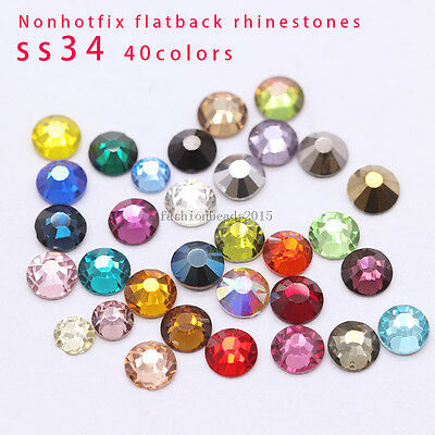 Top ss34 color crystal flat back glue on rhinestones Nail Art Garment Decoration