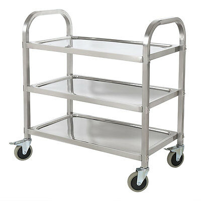 Rolling Stainless Steel 3 Tier Catering Storage Kitchen Cart Serving Trolley