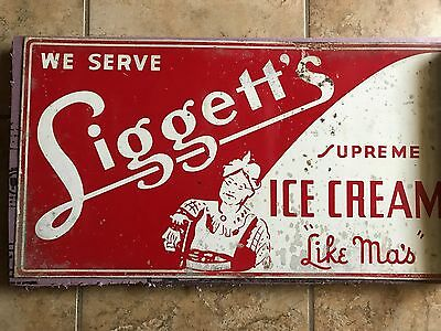 "Original 1940s Vintage LIGGETT'S ICE CREAM  "" LIKE MA'S "" Old Tin Flange Sign"
