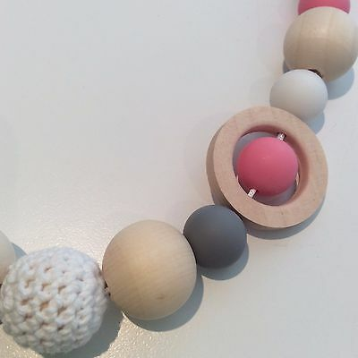 82cm Mum/Dad & Bub Nursing, Sensory Teething Necklace, Natural,Quality Hand Made