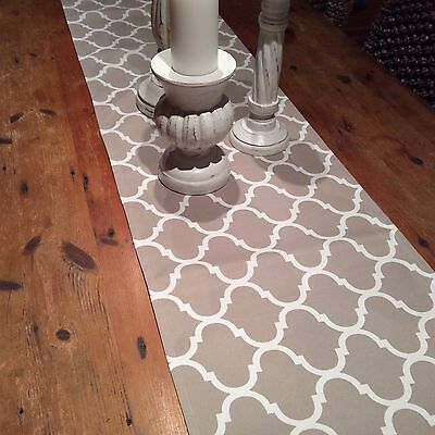 Table Runners, Taupe Geometric Indoor/Outdoor Weatherproof Canvas , Quality H/M