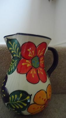 Spanish ceramic pottery hand painted extra large jug - white floral