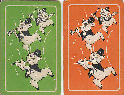 Vintage Swap/Playing Card - 2 SINGLE- THREE LITTLE MUSICAL PIGS