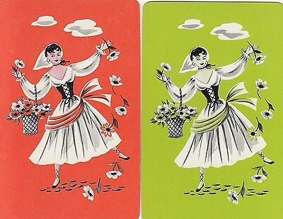 %Vintage Swap / Playing Cards - 2 Single, CANASTA LADY WITH FLOWERS