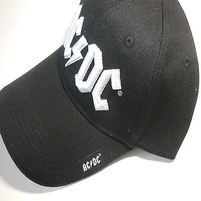 AC/DC baseball hat with white logo. Official merchandise